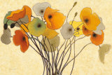 Pumpkin Poppies I Print by Shirley Novak