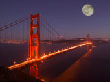 Moonrise above the Golden Gate Bridge, Marin, California Photographic Print by Josh Anon