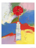 Red Zinnia in Square Bottle Giclee Print by Peggy Brown
