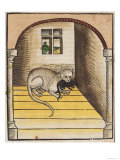 Cat with a Mouse in His Mouth Giclee Print