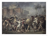 Les Sabines Arretant Le Combat Gicleetryck av Jacques-Louis David