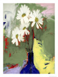 Daisies on Green Giclee Print by Peggy Brown