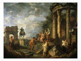 Ruins of Architecture, 18th century Giclee Print by Giovanni Paolo Pannini