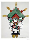 Hopi Kachinas: Small Figure, Kneeling, Wearing Large Headdress Reproduction procédé giclée