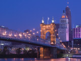 Roebling Suspension Bridge, Ohio River, Cincinnati, Ohio, USA Photographic Print by Walter Bibikow