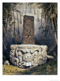 Idol and Altar at Copan Giclee Print by Frederick Catherwood