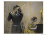 Violinist and Clara Schumann Giclee Print by Adolph von Menzel