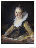 Young Woman Doing Her Studies Impression giclée par Jean-Honoré Fragonard