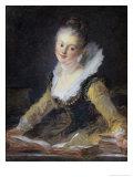 Young Woman Doing Her Studies Reproduction procédé giclée par Jean-Honoré Fragonard