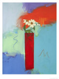 Tall Red Vase and Daisy Giclee Print by Peggy Brown