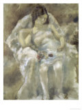 Young Girl Seated with Flowers Gicleetryck av Jules Pascin