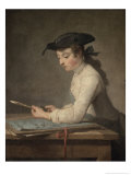Young Draftsman, c.1737 Giclee Print by Jean-Baptiste Simeon Chardin