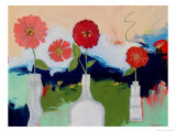 Five Zinnias, no.1 Giclee Print by Peggy Brown