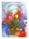 Tulip Pot Giclee Print by Peggy Brown