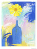 Yellow Flower Blue Bottle Giclee Print by Peggy Brown