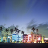 Art Deco Architecture and Palms, South Beach, Miami, Florida Fotografie-Druck von Robin Hill