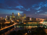 Evening Skyline Scene from St. Anthony Main, Minneapolis, Minnesota Photographic Print by Walter Bibikow