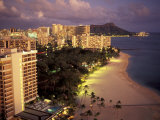 City Skyline and Beach, Honolulu, Oahu, Hawaii Photographic Print by Randa Bishop