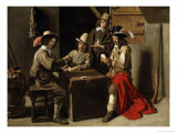 Soldiers Playing Cards Giclee Print by Louis Le Nain