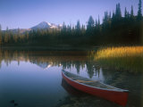 Beached Red Canoe, Sparks Lake, Central Oregon Cascades Photographic Print by Janis Miglavs