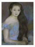 Young Girl with Dark Brown Hair and Blue Eyes Giclée-tryk af Pierre-Auguste Renoir