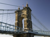 Roebling Suspension Bridge Over the Ohio River, Cincinnati, Ohio Photographic Print by Walter Bibikow