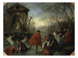 Winter or the Skaters Giclee Print by Nicolas Lancret