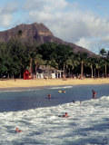 Waikiki Beach with Diamond Head, Honolulu, Oahu, Hawaii Photographic Print by Catherine Gehm
