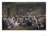 Reading of the Tragedy of Voltaire in Thesalon of Mrs. Jeoffrin Giclee Print by Anicet-Charles Lemonnier