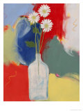 Three Daisies in a Bottle Giclee Print by Peggy Brown