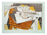 Still Life with a Newspaper and a Wooden Table, c.1918 Impresso gicle por Juan Gris