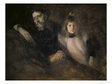 Alphonse Daudet et Sa Fille Reproduction procédé giclée par Eugene Carriere