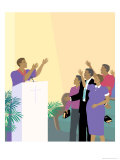 Black Preacher and Congregation Giclee Print by Linda Braucht
