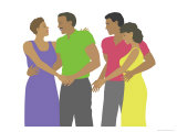 Black Couples Dance Giclee Print by Linda Braucht