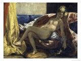 Femme Caressant Un Perroquet Giclee Print by Eugene Delacroix