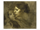 The Baiser Maternelmotherly Kiss Impression giclée par Eugene Carriere