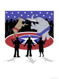 Democrats vs. Republicans Giclee Print by Linda Braucht