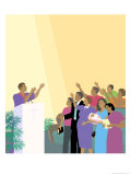 Black Preacher and Congregation, no.2 Giclee Print by Linda Braucht