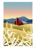 Country Wheat Farm Giclee Print by Linda Braucht