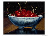 Red Cherries in a Blue Bowl Giclee Print by Helen J. Vaughn