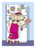 Doggie at the Fridge Giclee Print by Linda Braucht