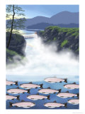 Below the Dam Giclee Print by Linda Braucht