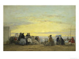 On the Beach at Sunset Giclee Print by Eugène Boudin