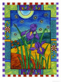 Irises and Fireflies Giclee Print by Helen Lurye