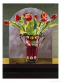 Red Tulips in a Cranberry Vase Giclee Print by Helen J. Vaughn
