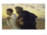 Disciples Peter and John Rushing to the Sepulcher, the Morning of the Resurrection Lmina gicle por Eugene Burnand