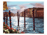 Dockside in Venice Giclee Print by Helen J. Vaughn