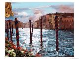 Dockside in Venice Premium Giclee Print by Helen J. Vaughn