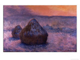 Haystacks in the Setting Sun Giclee Print by Claude Monet