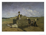 Bretonnes a La Fontaine Giclee Print by Jean-Baptiste-Camille Corot